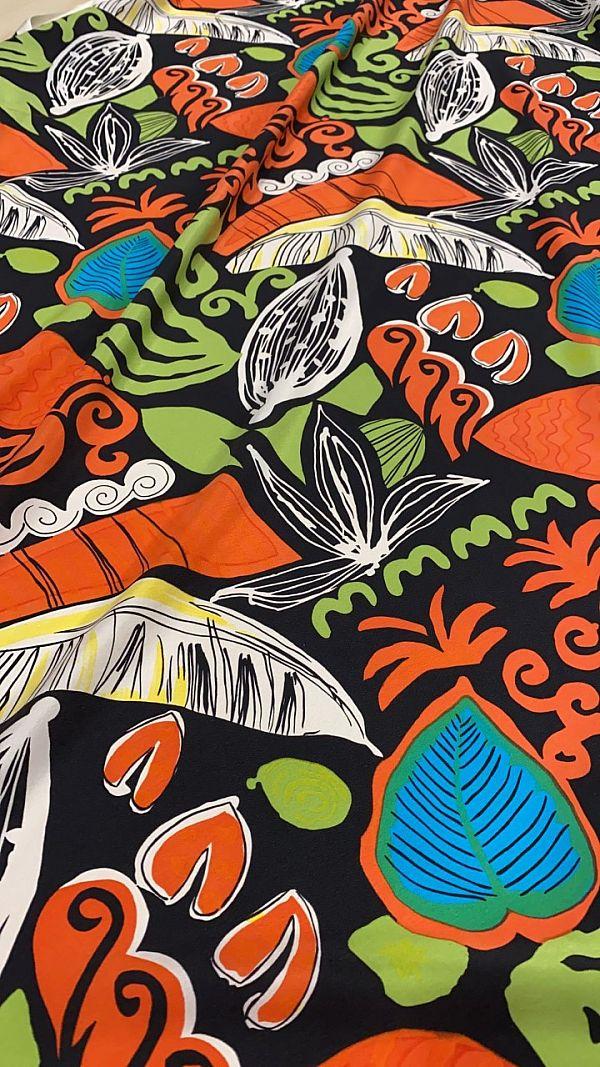 raso seta pura fantasia tropicale h120